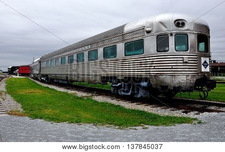 Strasburg Pennsylvania - June 4 2015: Vintage Reading Railroad Lounge Car at the Railroad Museum of Pennsylvania *
