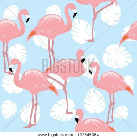 vector illustration of seamless background with flamingos and palm leaves