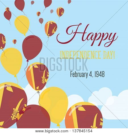 Independence Day Flat Greeting Card. Sri Lanka Independence Day. Sri Lankan Flag Balloons Patriotic
