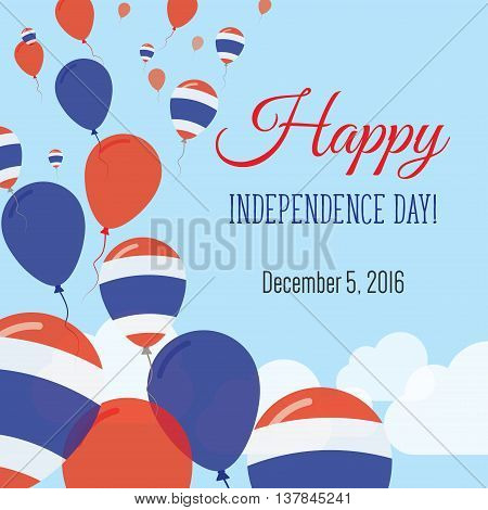 Independence Day Flat Greeting Card. Thailand Independence Day. Thai Flag Balloons Patriotic Poster.