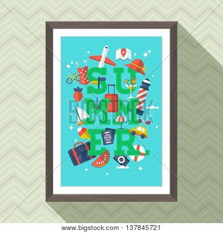 Summer vacation lettering poster design with picture frame