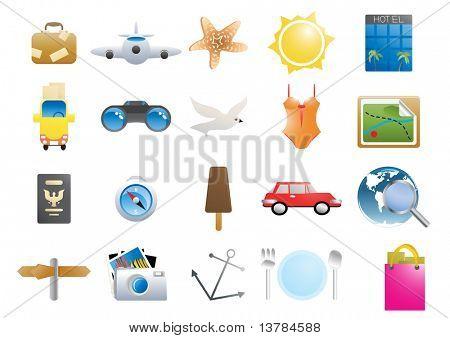 Ilustración de vector de iconos de vacaciones sobre un fondo blanco