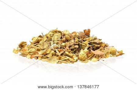 Dried oregano leaves on a white background