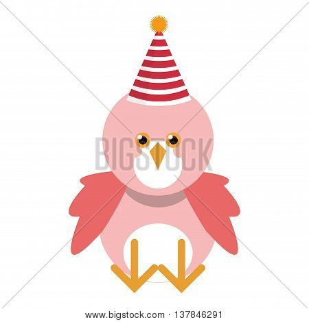 Cute pink bird with party hat isolated vector illustration