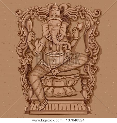 Vector design of Vintage statue of Indian Lord Ganesha sculpture engraved on stone