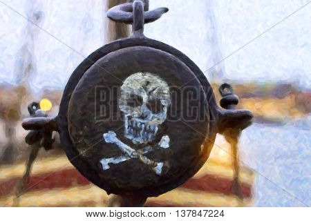 Pirate label. Skull and crossbones painted on the side of the mast of the ship Stockholm Sweden