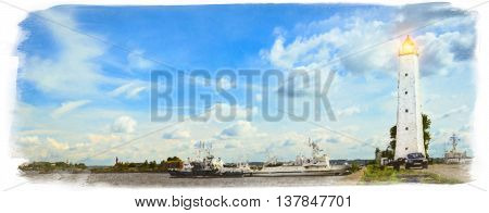 Kronstadt Russia. Panoramic view of August sun with Kronstadt promenade to pier with lighthouse and ships. Photo stylized watercolor illustration