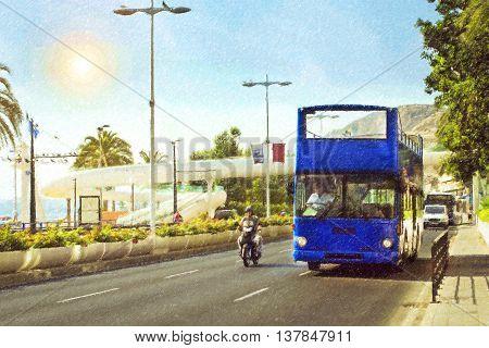 Double-Decker tourist bus on the street Avenida Juan Bautista Lafora in the city of Alicante Valencia Spain. Photo stylized illustration