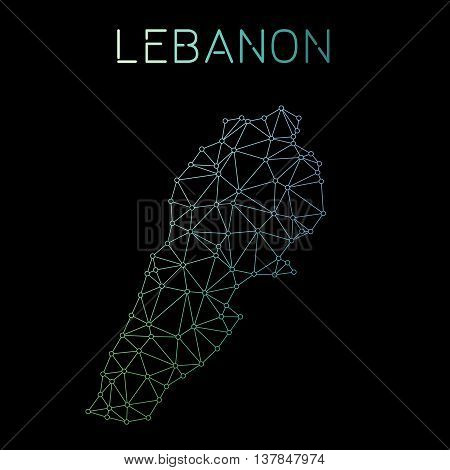 Lebanon Network Map. Abstract Polygonal Map Design. Network Connections Vector Illustration.