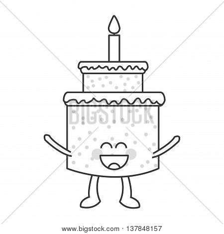 happy Cute kawaii cake with candle isolated vector illustration