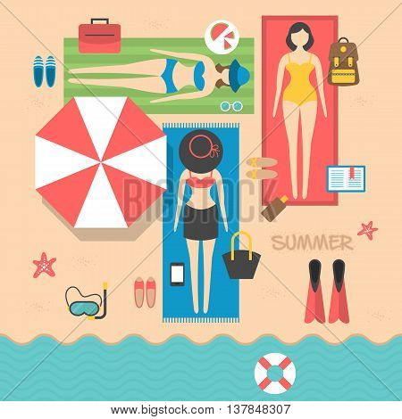 Summer holiday vacation on the beach with young women tanning. Flat modern vector illustration