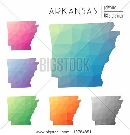 Set Of Vector Polygonal Arkansas Maps. Bright Gradient Map Of The Us State In Low Poly Style. Multic