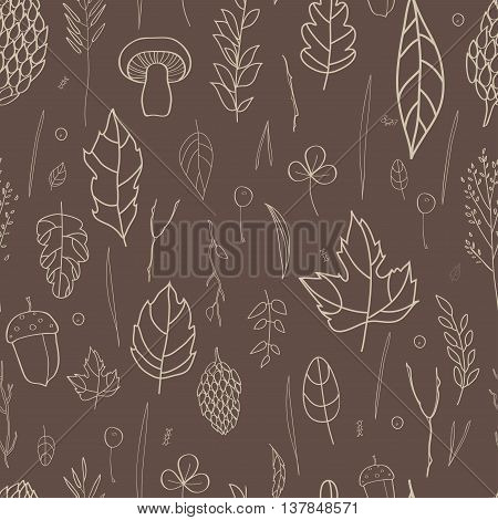 Vector seamless pattern with leaf, berries, blades of grass, autumn elements and templates. gray outline on a brown background. autumn hipster background. Bright pattern. Autumn template