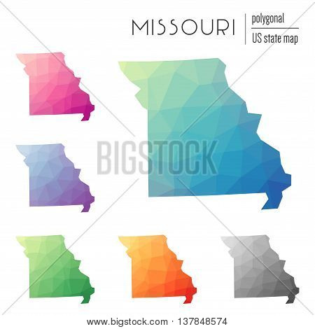 Set Of Vector Polygonal Missouri Maps. Bright Gradient Map Of The Us State In Low Poly Style. Multic