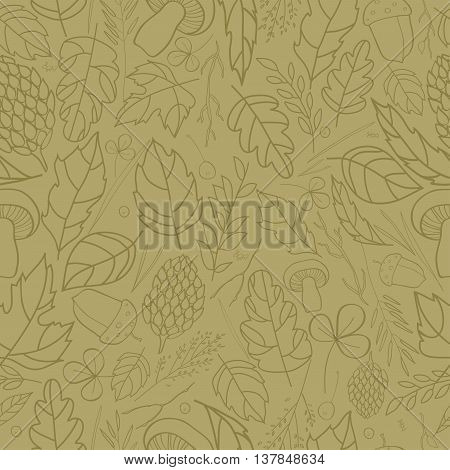 Vector seamless pattern with leaf, berries, blades of grass, autumn elements and templates. brown contour on ocher background. autumn hipster background. Bright pattern. Autumn template.hipster background. Autumn template.