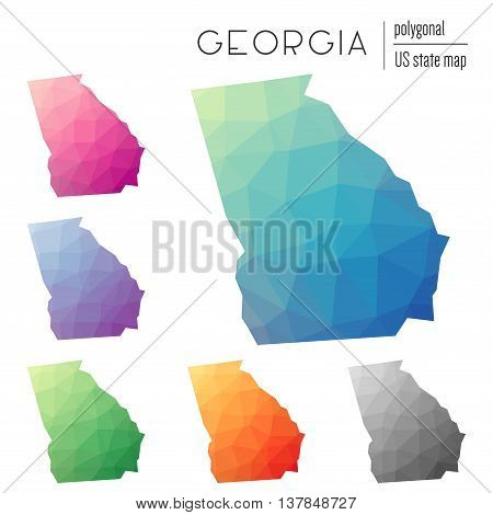 Set Of Vector Polygonal Georgia Maps. Bright Gradient Map Of The Us State In Low Poly Style. Multico