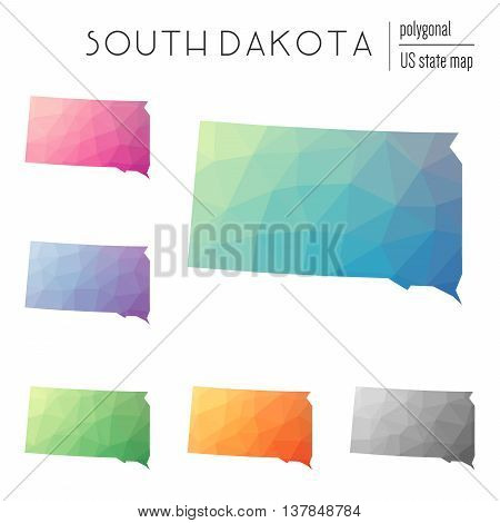Set Of Vector Polygonal South Dakota Maps. Bright Gradient Map Of The Us State In Low Poly Style. Mu