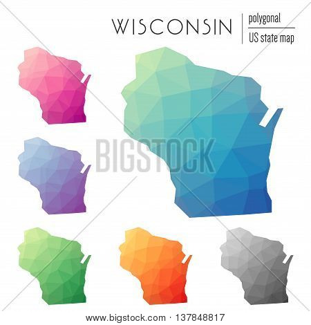 Set Of Vector Polygonal Wisconsin Maps. Bright Gradient Map Of The Us State In Low Poly Style. Multi