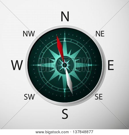 Compass with windrose on grey background. Vector Illustration.
