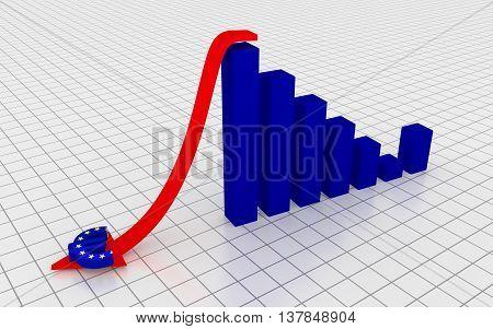Decreasing graph with euro symbol. 3D Rendering.