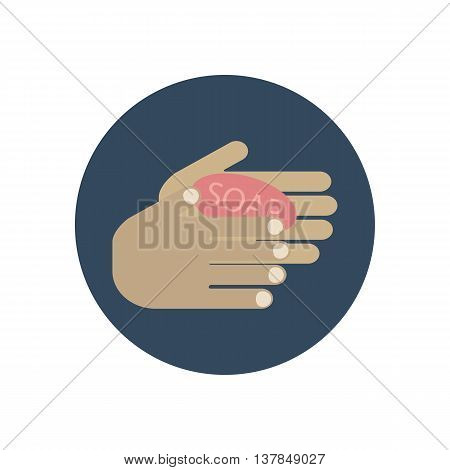 Wash your hands icon. Hygiene icon. Hands and soap on the blue background. Vector illustration