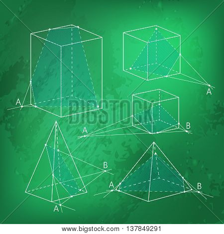 Math picture - sections of polyhedra. Geometry background on green chalkboard. School vector illustration.