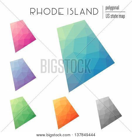 Set Of Vector Polygonal Rhode Island Maps. Bright Gradient Map Of The Us State In Low Poly Style. Mu