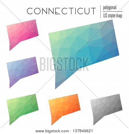 Set Of Vector Polygonal Connecticut Maps. Bright Gradient Map Of The Us State In Low Poly Style. Mul