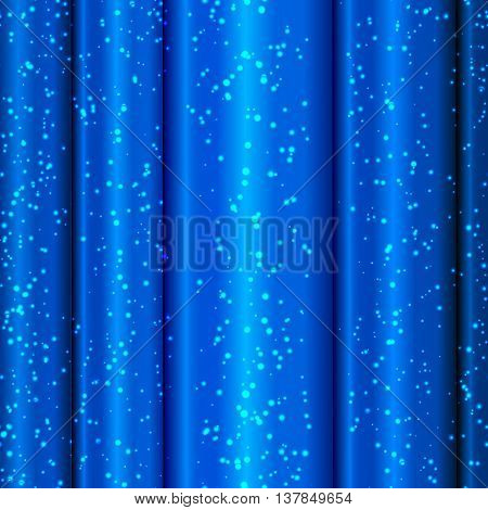 Blue satin curtains with tinsel. Blue background. Vector illustration