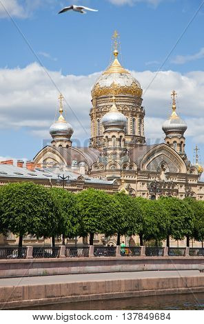 St. Petersburg. A view from Neva on church of the Dormition of the Theotokos and Lieutenant Schmidt Embankment