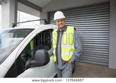 Engineer Builder At Construction Site, Close To His Car