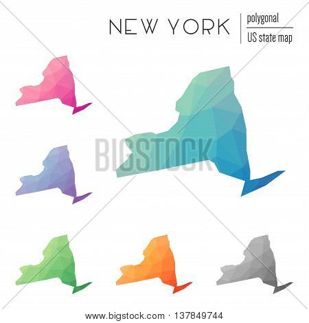 Set Of Vector Polygonal New York Maps. Bright Gradient Map Of The Us State In Low Poly Style. Multic