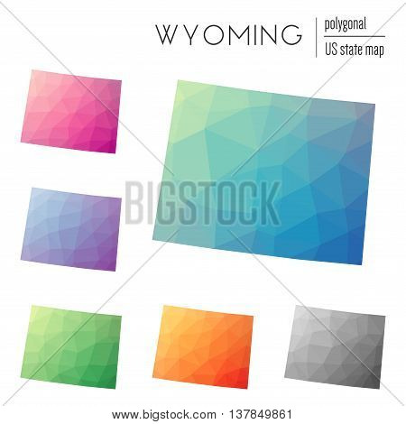 Set Of Vector Polygonal Wyoming Maps. Bright Gradient Map Of The Us State In Low Poly Style. Multico