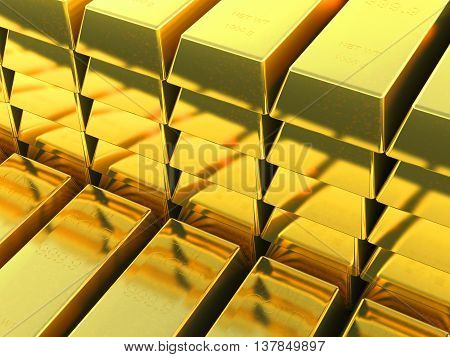 3D rendering of a Set of gold silver bars