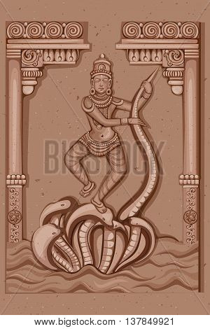 Vector design of Vintage statue of Indian Goddess Saraswati sculpture engraved on stone