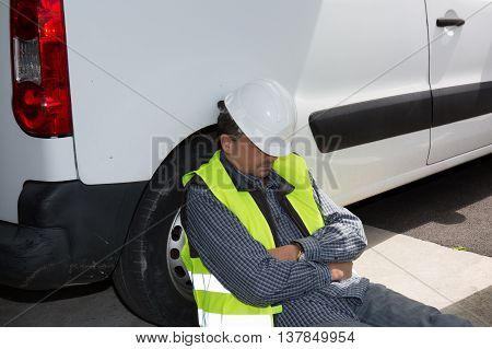 Engineer Builder Relaxing At Construction Site, Sleeping