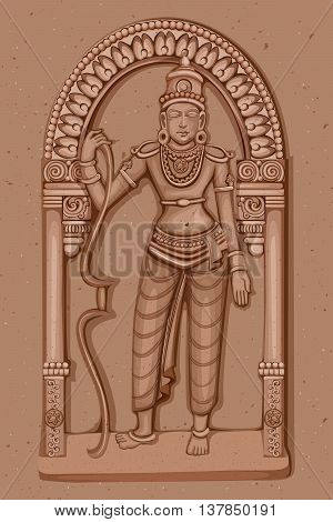 Vector design of Vintage statue of Indian Lord Rama sculpture engraved on stone