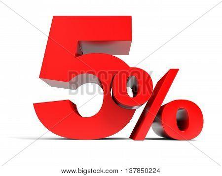 Red Five Percent Off. Discount 5%.