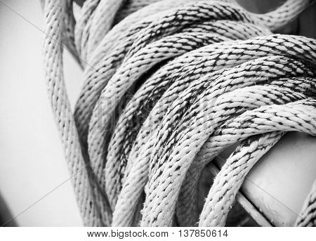 Close up of white rope And Knot, Black and white image
