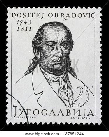 ZAGREB, CROATIA - SEPTEMBER 18: Stamp printed in Yugoslavia shows Dositej Obradovic, philosopher, linguist, minister of education of Serbia, circa 1963, on September 11, 2014, Zagreb, Croatia