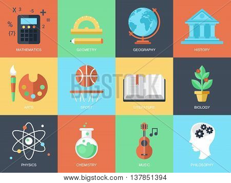Flat modern icons for education and professions. Elements for graphic and web design