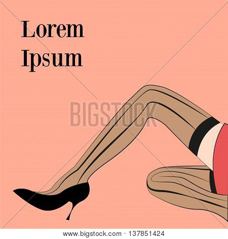 Women's legs Vector illustration Long slim female legs in stockings and black shoes on a pink background Retro style