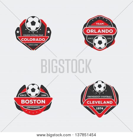 Set of football soccer team emblem. Sport team logo with ball red and black color ready for printing on shirt.
