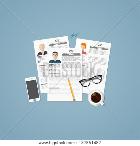 Curriculum vitae job papers with personal info and picture. Job business interview concept with candidats resume and objects.