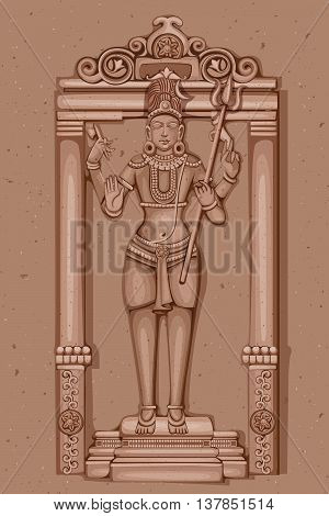 Vector design of Vintage statue of Indian Lord Shiva sculpture engraved on stone