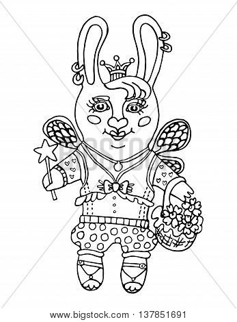 Outline drawing a cute rabbit girl fairy in the princess crown and a magic wand cartoon character on isolated white background kids coloring book and coloring page print pattern vector illustration