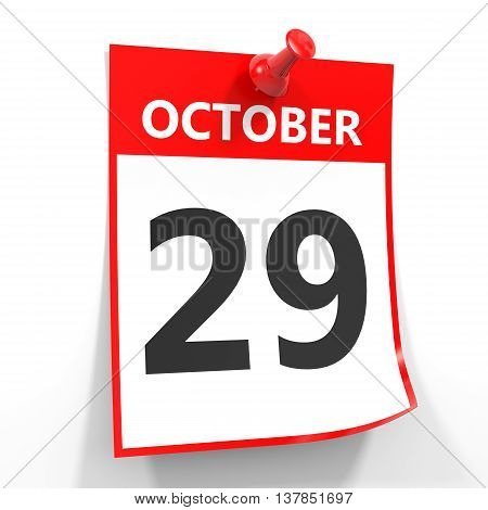 29 October Calendar Sheet With Red Pin.