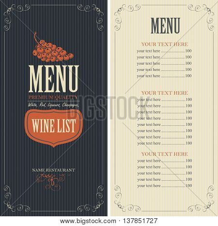 Wine list menu with a bunch of grapes and price