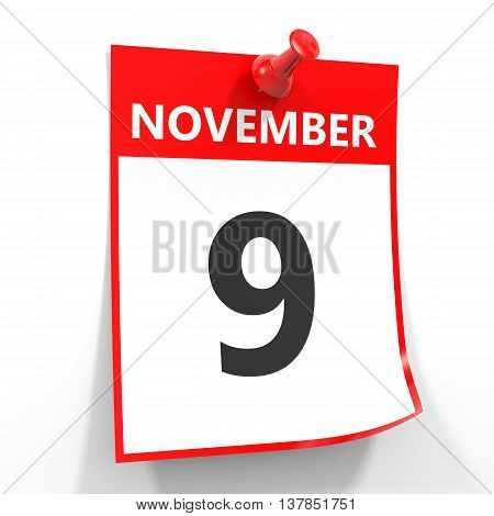 9 November Calendar Sheet With Red Pin.