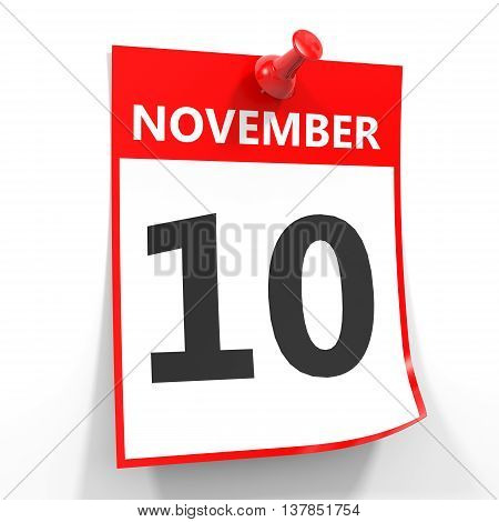 10 November Calendar Sheet With Red Pin.